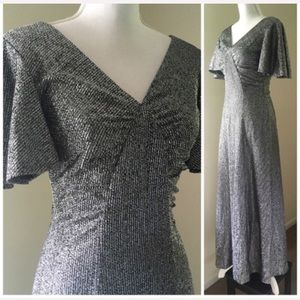 Vintage Metallic Silver Flutter sleeve Maxi gown